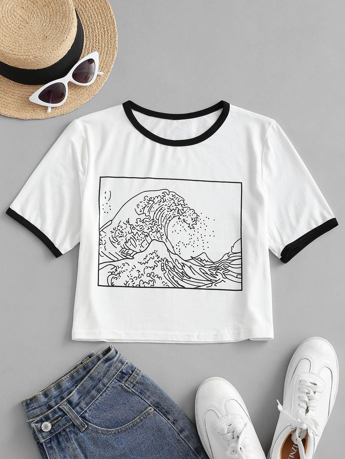 Sea Wave Graphic Cropped Ringer Tee