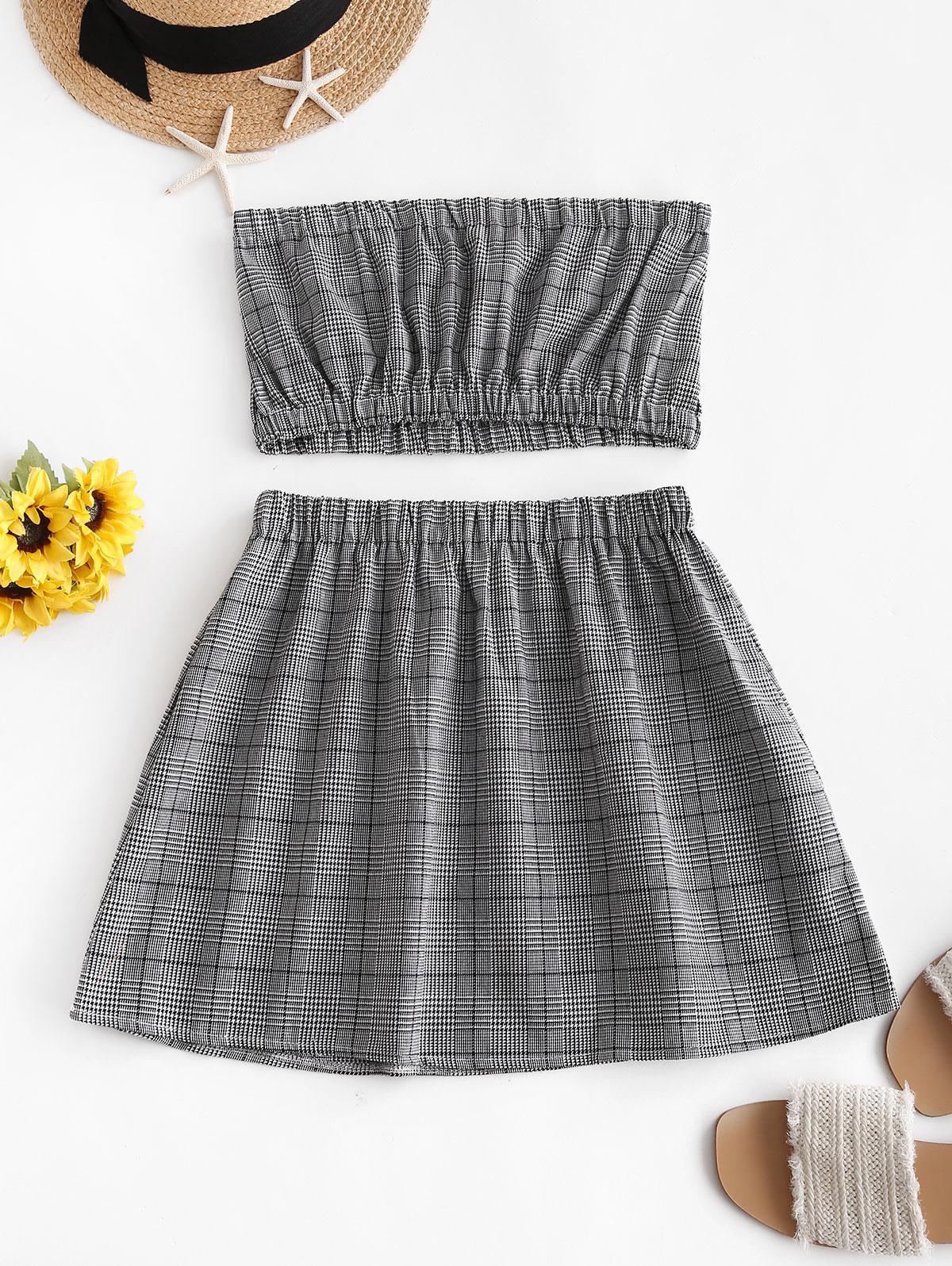 ZAFUL Glen Plaid Bandeau Two Piece Dress