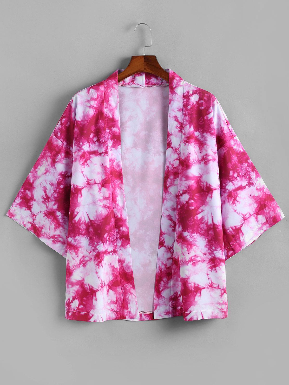 Cardigan Kimono Ouvert en Avant Teinté Imprimé M - Zaful FR - Modalova