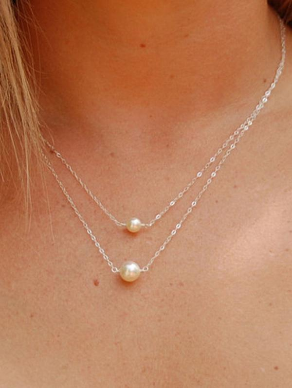 Double Layer Faux Pearl Chain Necklace