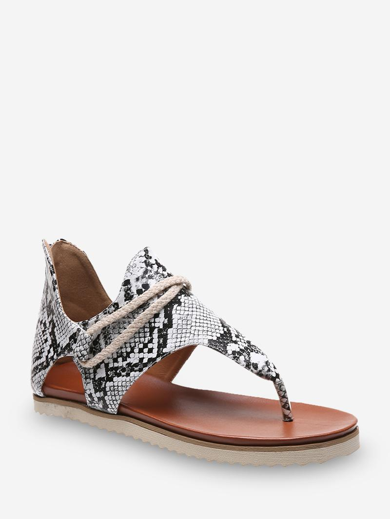 Toe Post Animal Print Flat Sandals