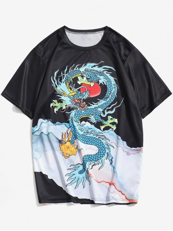 unique Dragon and Mountains Print Short Sleeve T-shirt - BLACK 4XL
