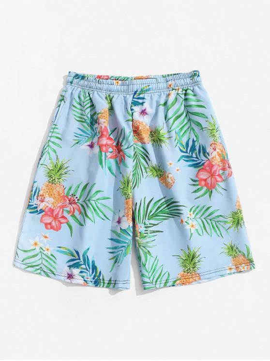women Tropical Flower Pineapple Print Vacation Shorts - LIGHT SKY BLUE 3XL