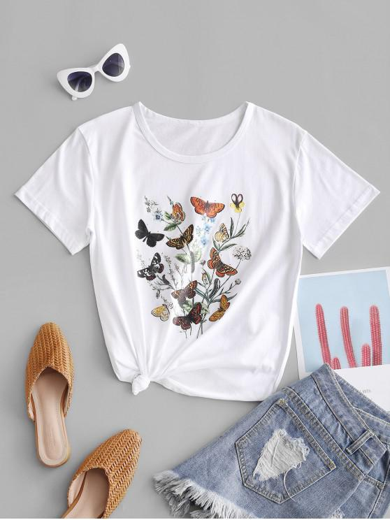 womens Butterfly Flower Knotted Cotton Basic Tee - WHITE 2XL