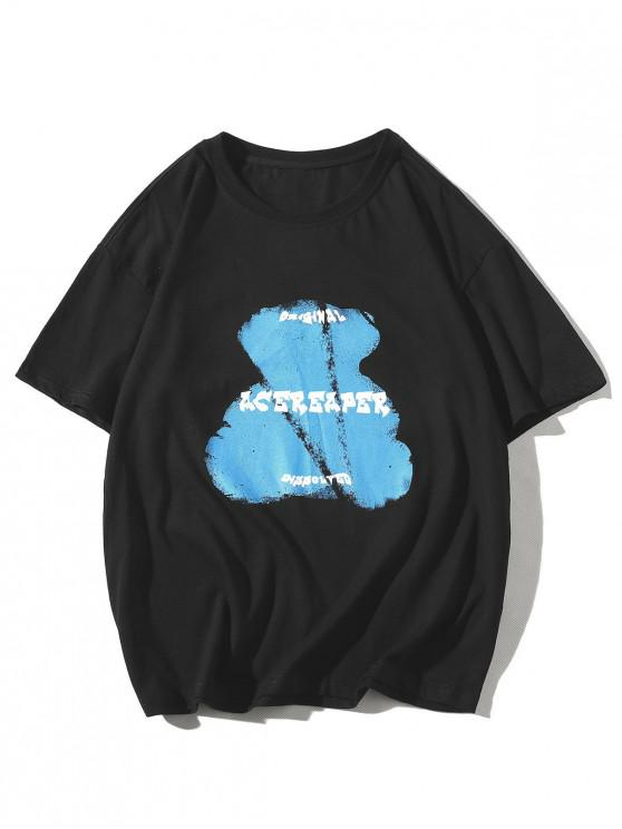 Bear Animal Letter Print Basic T-shirt - أسود 2XL