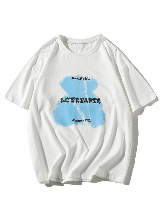 Bear Animal Letter Print Basic T-shirt - أبيض 5XL