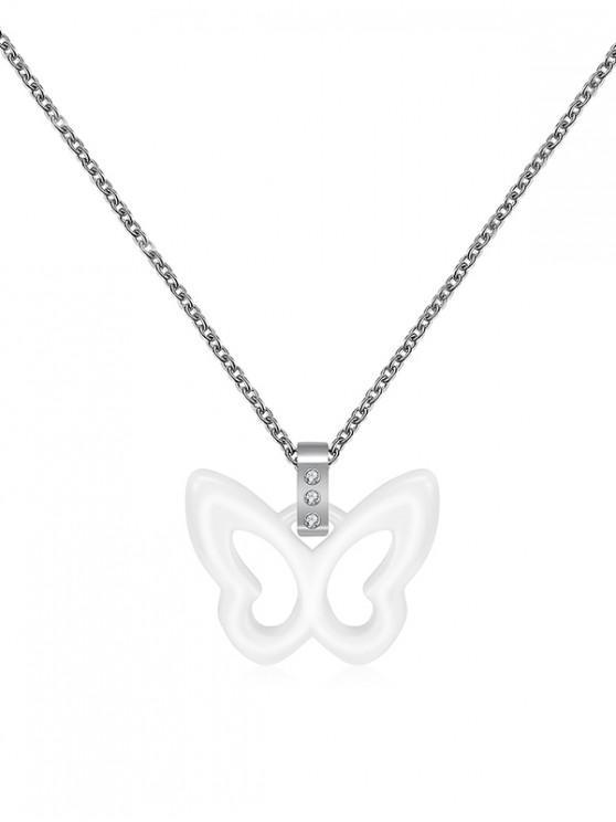 Mariposa hueco colgante de cerámica - Blanco
