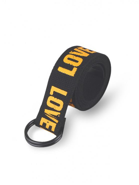 Cinturon Elegante Cintura Estampado Letras - Negro