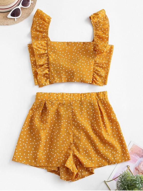 latest Polka Dot Ruffle Two Piece Set - YELLOW M