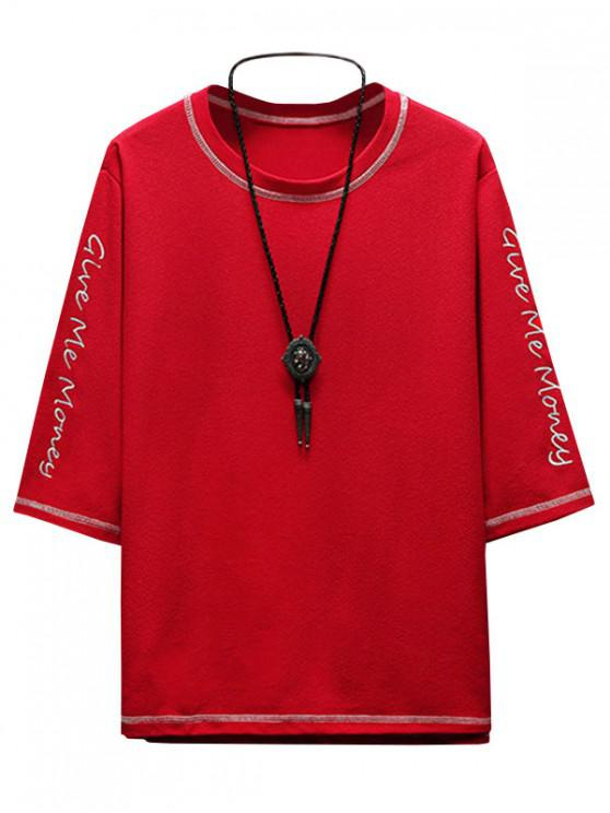 fashion Contrast Letters Embroidered Tee with Topstitching - LAVA RED S