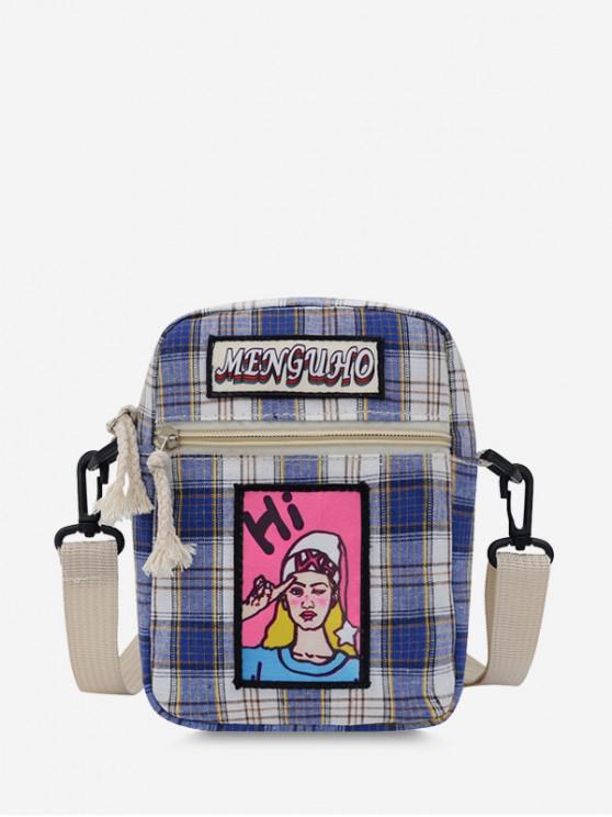 trendy Girl Graphic Checked Mini Crossbody Bag - BLUE