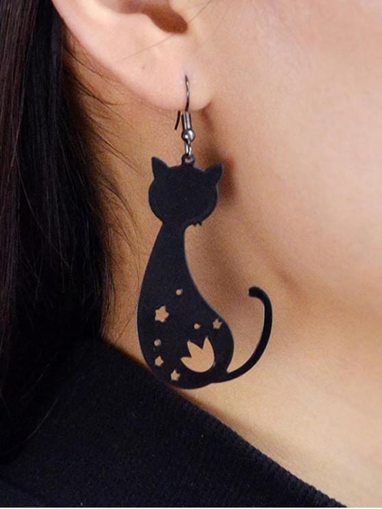 Pendientes de Gota de Gato Ahuecados - Negro