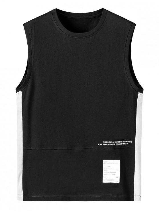 Letter Print Color Spliced Tank Top - أسود 3XL