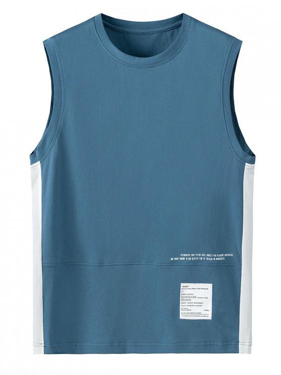 Letter Print Color Spliced Tank Top - الحرير الأزرق 4XL
