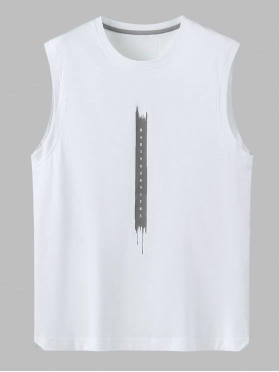 ladies Letter Print Cotton Tank Top - WHITE 4XL