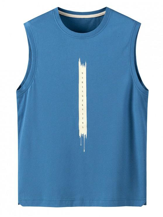 Letter Print Cotton Tank Top - بلو كوي 4XL