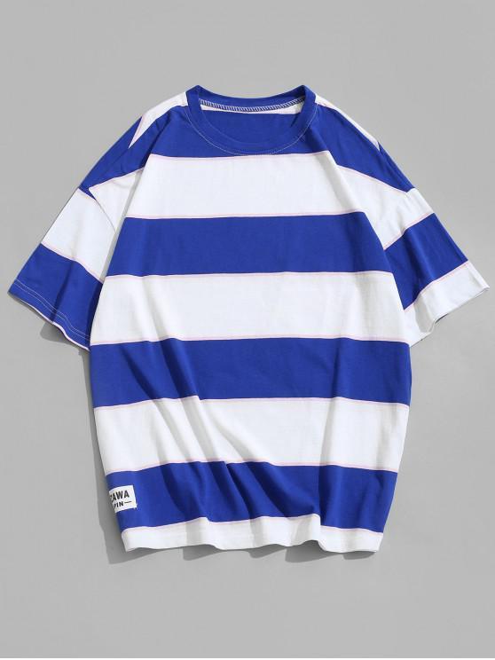 T-shirt Rayé en Blocs de Couleurs à Manches Courtes - Ciel Bleu Foncé 4XL
