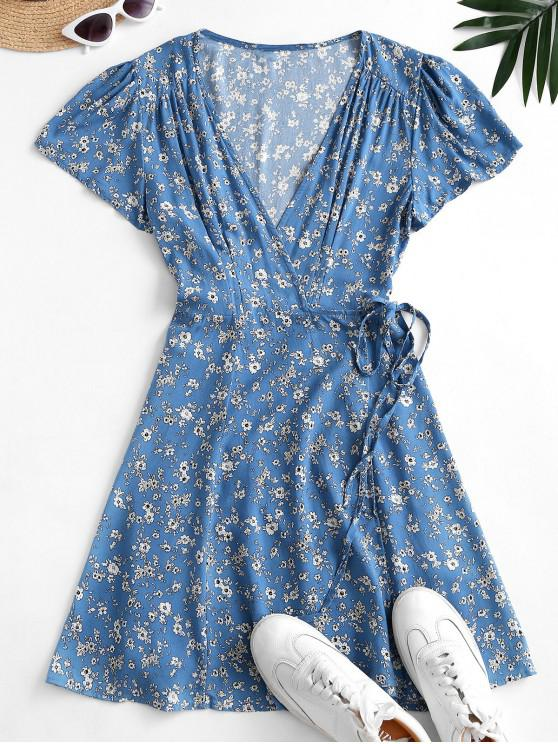 unique Flutter Sleeve Ditsy Floral Wrap Dress - BLUE KOI S