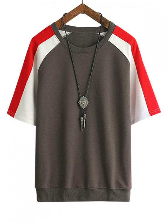 Farbblock Panel Raglan Ärmel T-Shirt - Taupe 3XL