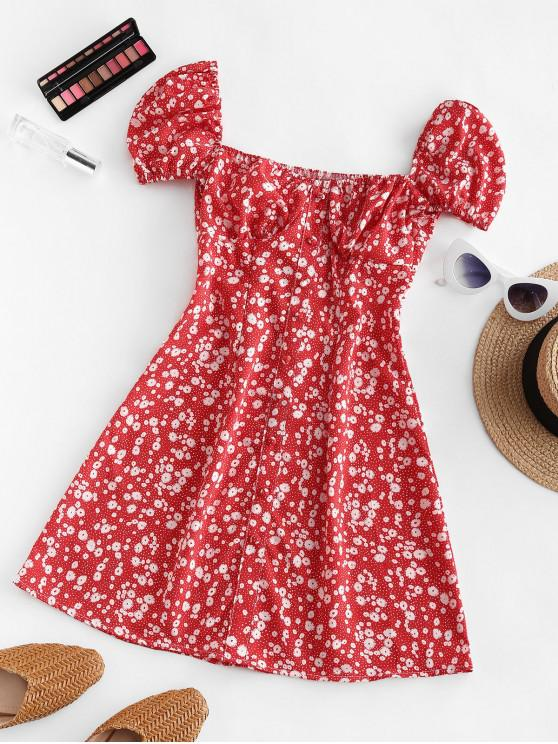 hot Ditsy Print Puff Sleeve Milkmaid Dress - RED S