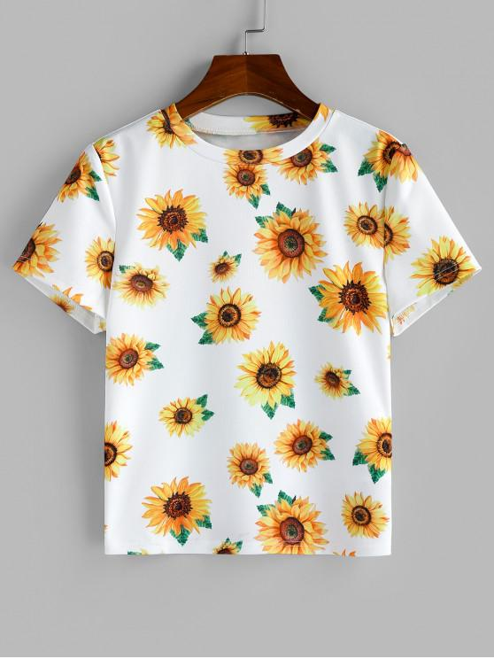 trendy Sunflower Printed Short Sleeve T-shirt - MULTI-A S