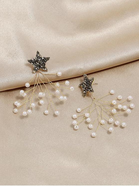 Pendientes de Perlas de Imitación Ramas de Estrella - Blanco