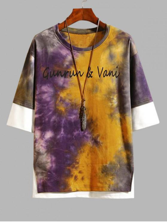 buy Tie Dye Letter Print Faux Twinset T-shirt - BEE YELLOW 4XL