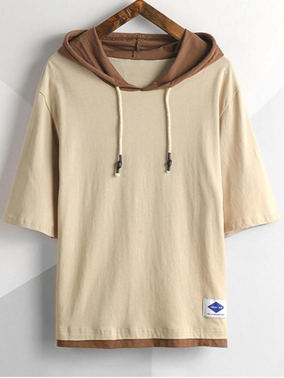 unique Hooded Two Tone Drop Shoulder Tee - LIGHT COFFEE 4XL