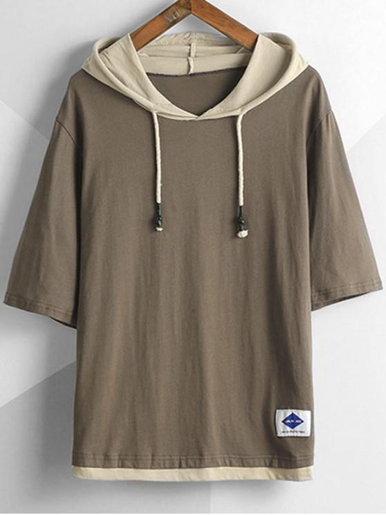 Hooded Two Tone Drop Shoulder Tee - قهوة 4XL