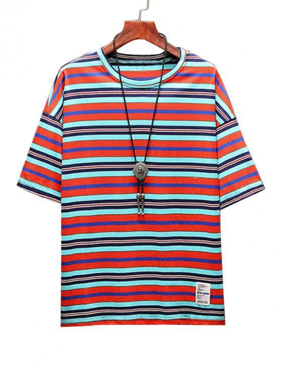 Stripe Print Applique Casual T-shirt - البرتقالي L
