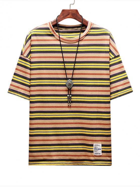 shops Stripe Print Applique Casual T-shirt - SUN YELLOW 2XL