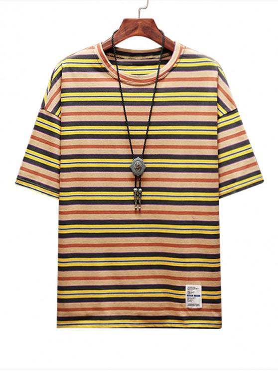 Stripe Print Applique Casual T-shirt - صن اصفر 4XL
