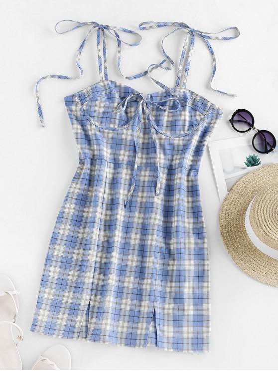 new ZAFUL Self Tie Plaid Front Slit Mini Dress - CORNFLOWER BLUE S
