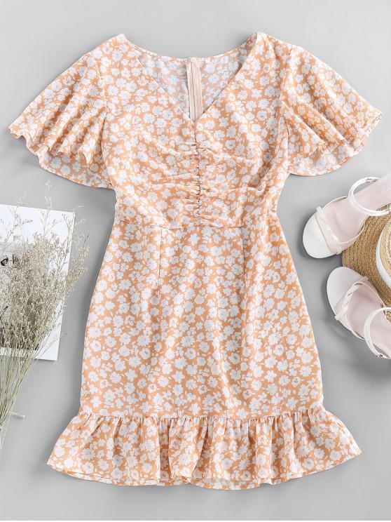 ladies ZAFUL Ditsy Print Ruched Butterfly Print Mermaid Dress - LIGHT SALMON L