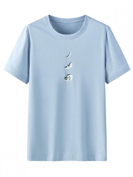 fashion Moon Pattern Casual Short Sleeves T-shirt - BLUE GRAY 3XL