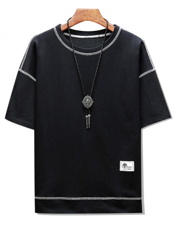 Short Sleeves Topstitching Two Tone Tee - أسود XS