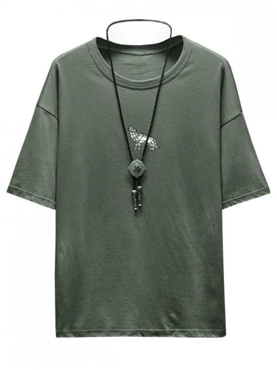 Tier Buchstabe Grafik Druck Grundlegendes T-Shirt - Rehbraunes Grün XS