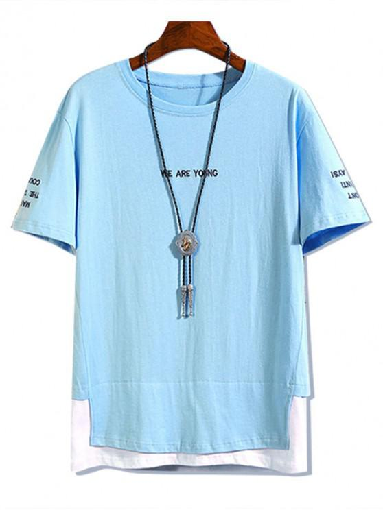 fancy Letter Embroidered Contrast Faux Twinset T-shirt - DAY SKY BLUE 4XL