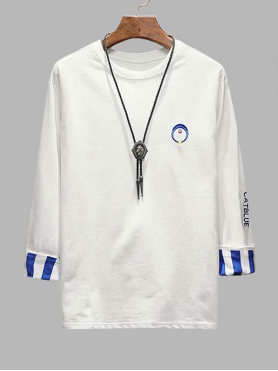 刺繍ストライプカフTシャツ - 白 S