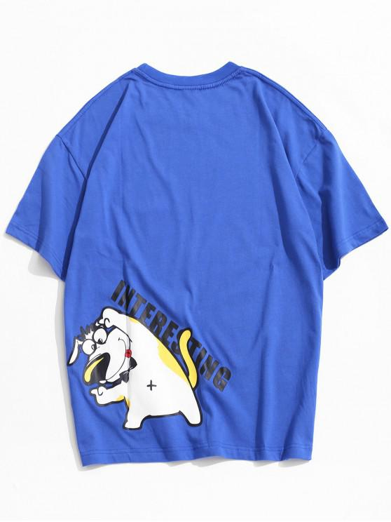 Kurzärmliges Cartoon Hundemuster T-Shirt - Blau S