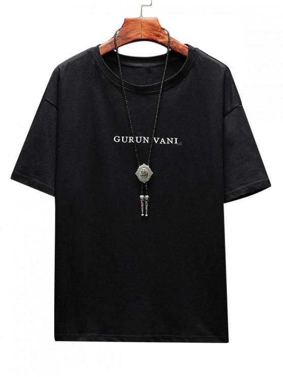 Wolf Letter Graphic Basic T-shirt - أسود XS