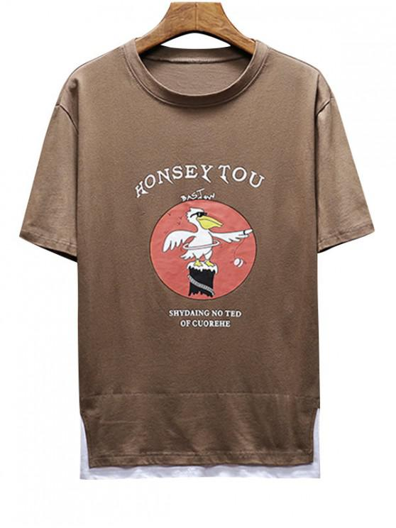 lady Two Tone Graphic Short Sleeves Tee - BROWN BEAR L