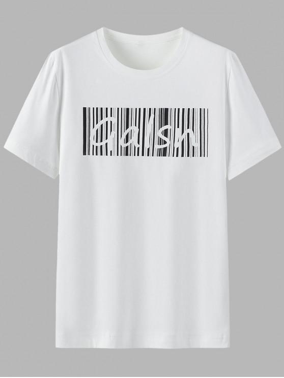 T-shirt Lettre Imprimée en Coton à Manches Courtes - Blanc XL