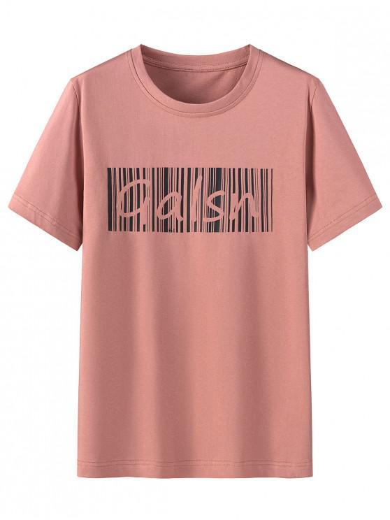 T-shirt de Mangas Curtas Padrão de Letras - Melancia Rosa 4XL