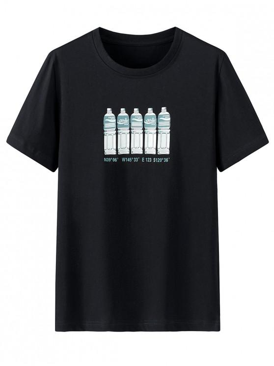Flasche Buchstabedruck Kurzarm T-Shirt - Schwarz 2XL