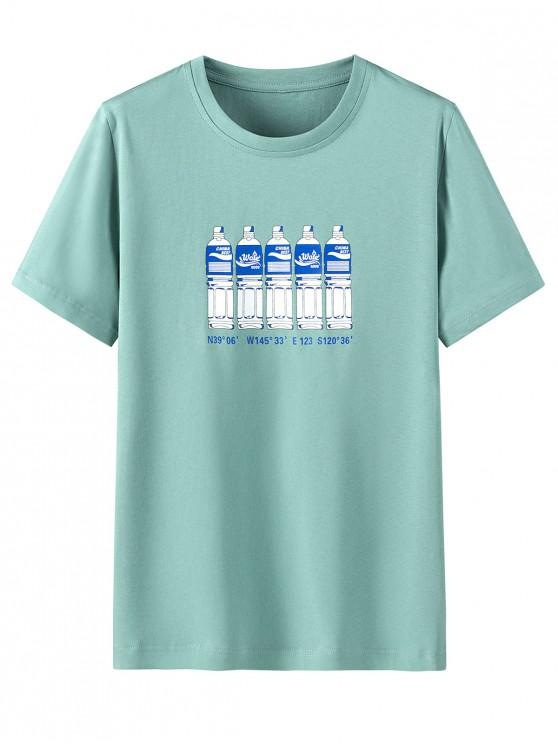 outfits Bottle Letter Print Short Sleeves T-shirt - MACAW BLUE GREEN 3XL