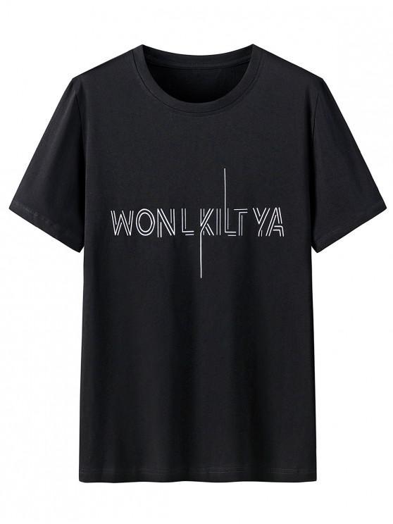 Graphic Print Round Neck Cotton T-shirt - أسود M