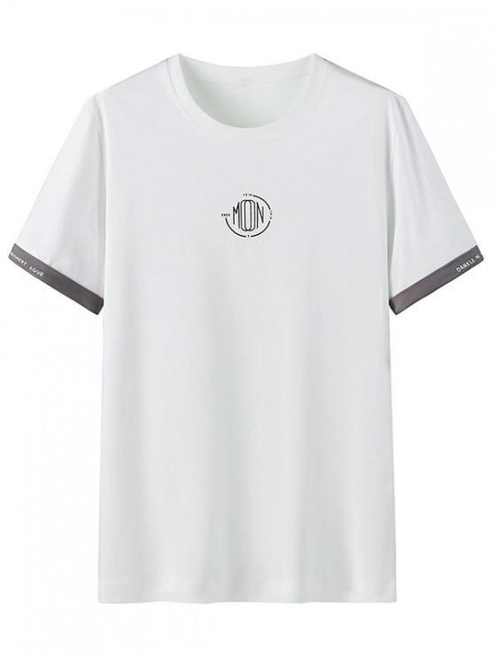 T-shirt Décontracté Motif Graphique à Col Rond - Blanc 3XL