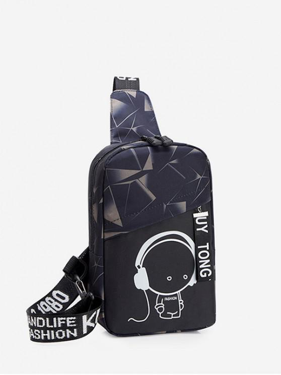 hot Cartoon Graphic Casual Chest Bag - CLOUDY GRAY