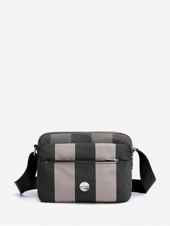 fancy Striped Waterproof Nylon Multi Pockets Crossbody Bag - GRAY CLOUD